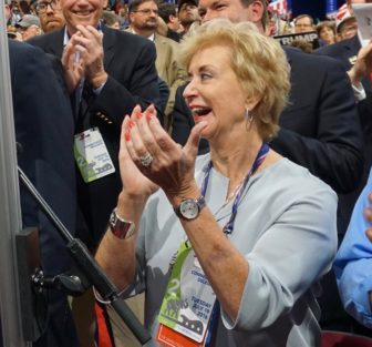 Linda McMahon applauding as Connecticut voted for Trump at the Republican National Convention.