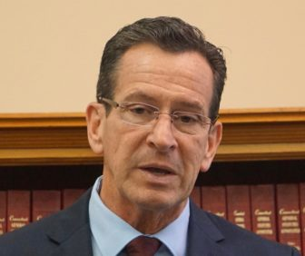 Gov. Dannel P. Malloy announcing a new plan for state pension contributions in December.