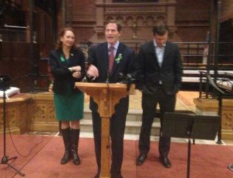 U.S. Rep. Elizabeth Esty, Sen. Richard Blumenthal and Sen. Chris Murphy at a vigil marking the fourth anniversary of the Sandy Hook school massacre.