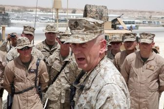 Lt. Gen. James Mattis, the commander of U.S. Marine Corps Forces Central Command, speaks to Marines with Marine Wing Support Group 27, May 6. Mattis explained how things in Iraq have gotten better since the first time Marines came to Iraq.