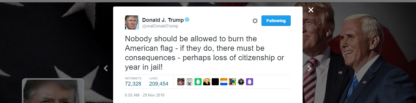 Trump's flag-burning tweet 'troubling' for its First Amendment ignorance