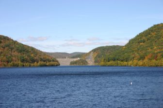 West Branch Reservoir with a view of the Colebrook River Dam from the Goodwin Dam.