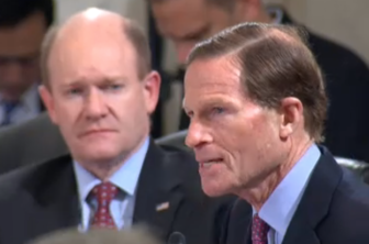 Sen. Richard Blumenthal questions Sen. Jeff Sessions during confirmation hearings on Sessions' nomination as attorney general.