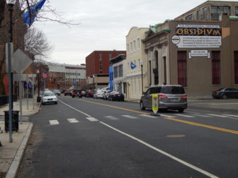 Downtown Ansonia on a cloudy weekday in January.