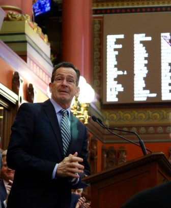 Gov. Malloy at the podium for his State of the State speech.