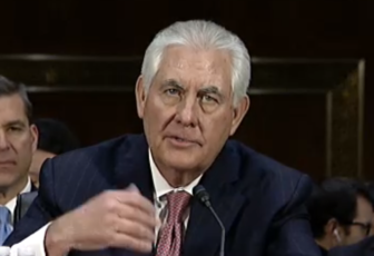Secretary of state nominee Rex Tillerson answers questions during his confirmation hearing before the Senate Foreign Relations Committee.