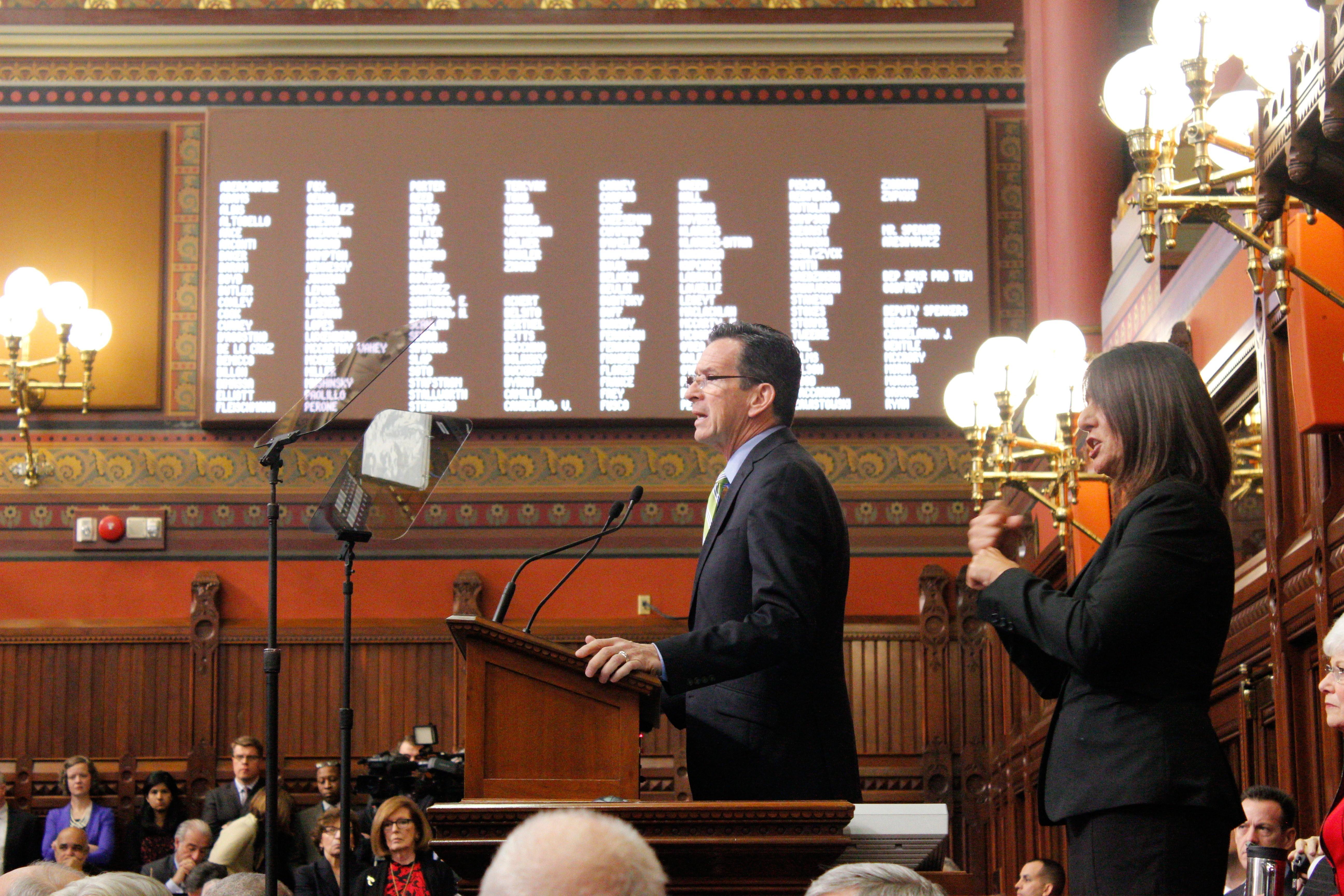 Amid cuts and concessions, Malloy promises progress