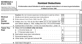 IRS form 1040 schedule A: Itemized deductions