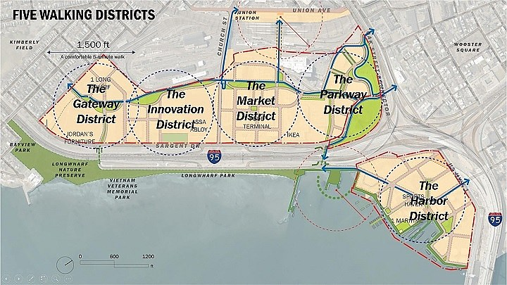A new vision for New Haven: five Long Wharf districts