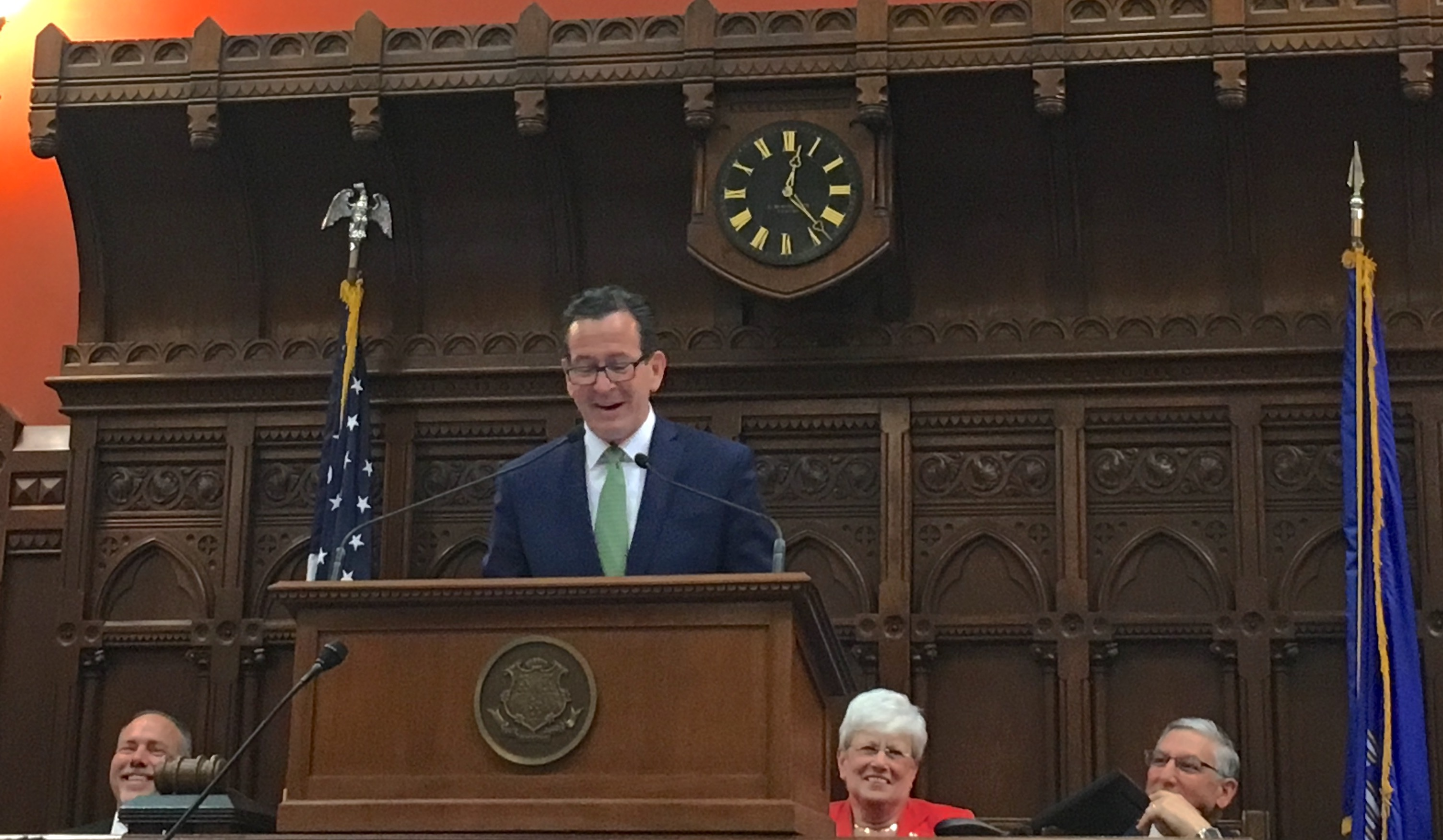 Malloy delivers a funny farewell in midnight address