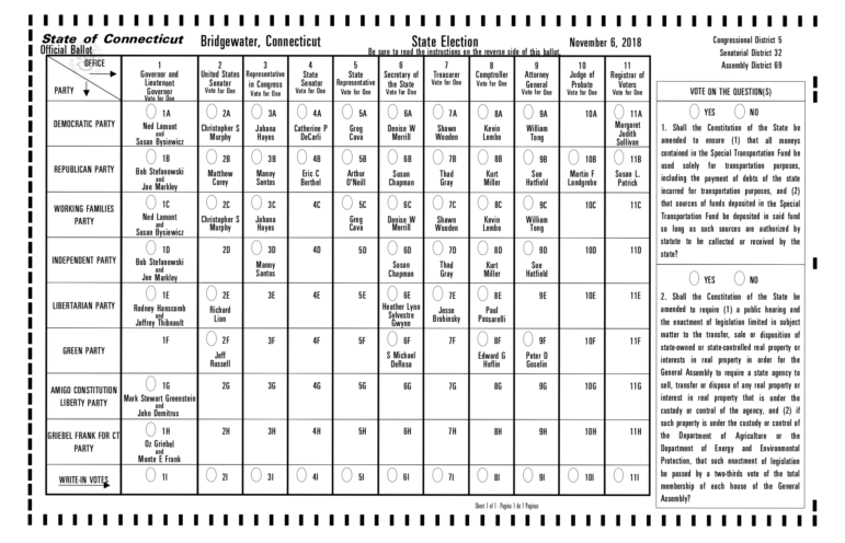 A sample ballot from the November 2018 election for the town of Bridgewater. Your ballot might be two-sided, so check the back.