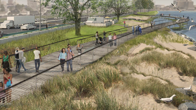Rendering of a living shoreline as part of a Long Wharf development