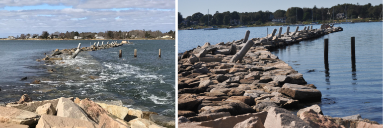 Left, a submerged breakwater structure during Sandy flooding. Rright, the same structure at normal water levels.