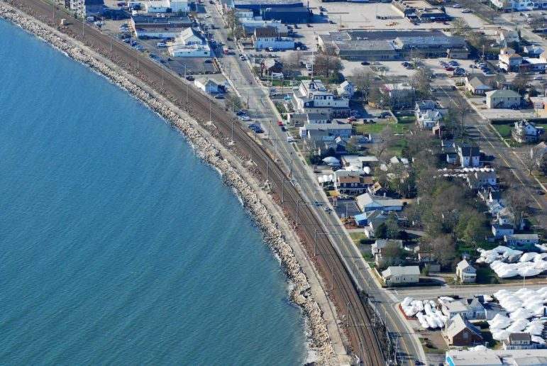 The Amtrak/Shoreline East line runs along the shoreline in the Niantic section of East Lyme, more or less where it's been for more than a century and where it was when the Hurricane of 1938 damaged stretches of track.