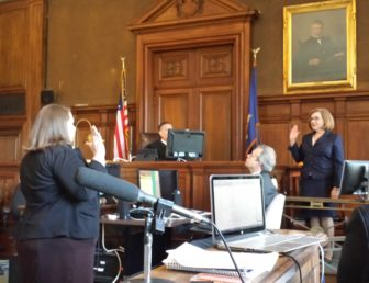 Education Commissioner Dianna Wentzell is sworn in to testify.