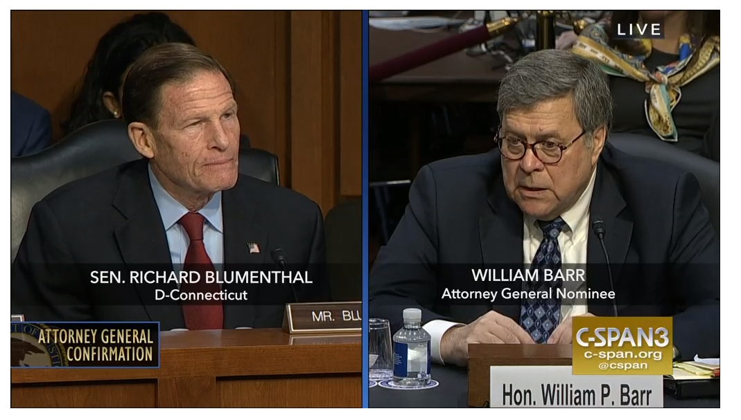 Blumenthal to vote against Barr's confirmation as U.S. attorney general