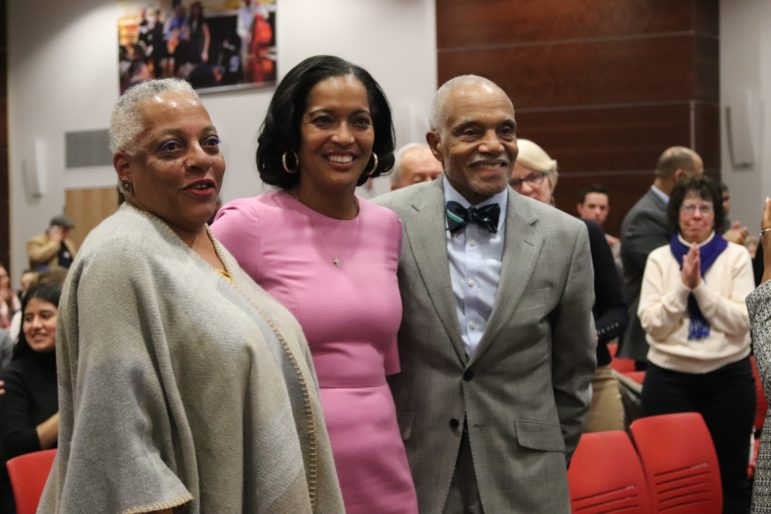 Jahana Hayes, center, with Elizabeth Horton Sheff and John Brittain, original lawyer in the Sheff case. (Photo credit: Cindy Navarro)