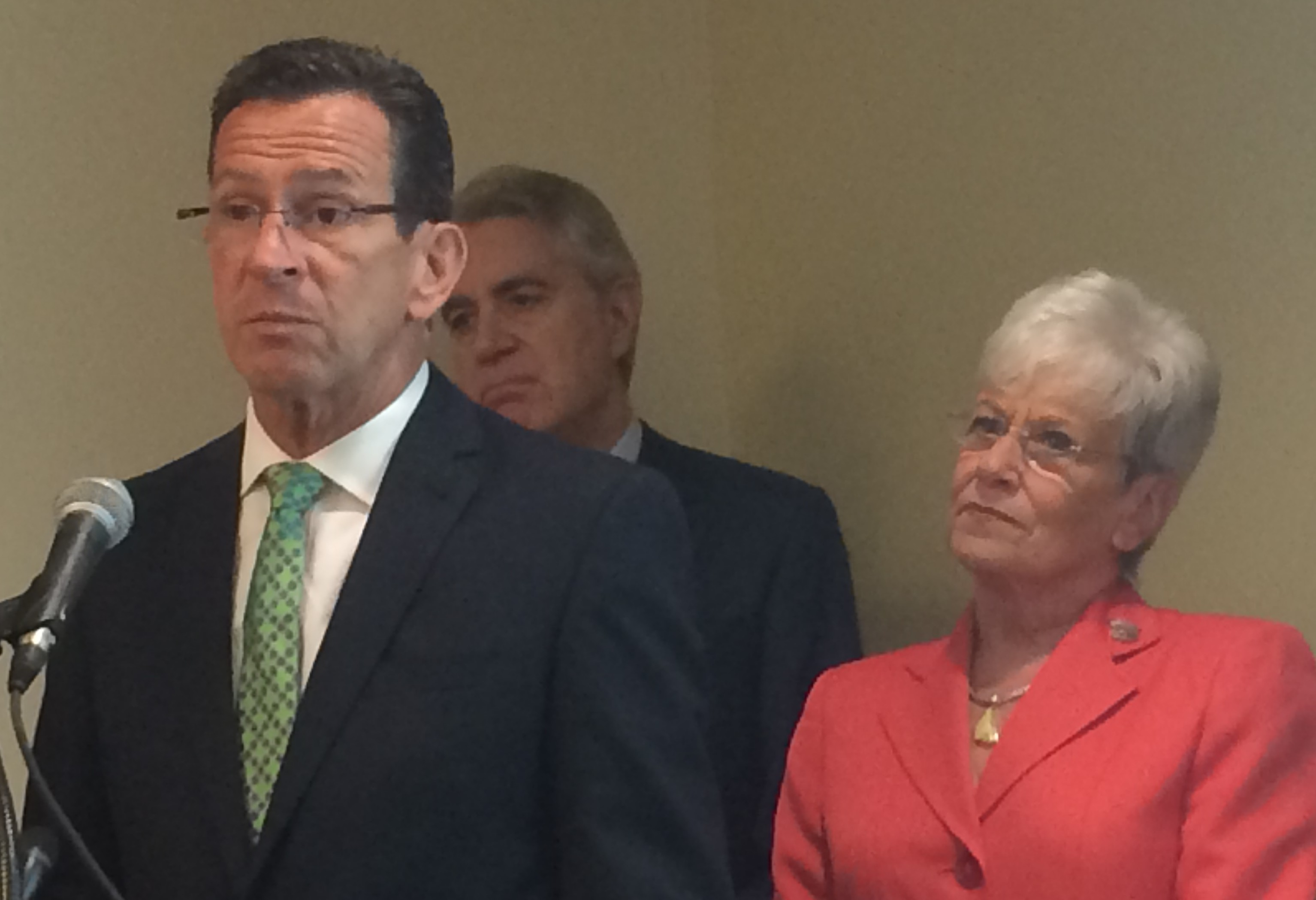 Gov. Dannel P. Malloy, Access Health CT CEO Kevin Counihan and Lt. Gov. Nancy Wyman announced data they said showed a drop in the uninsured rate earlier this month.
