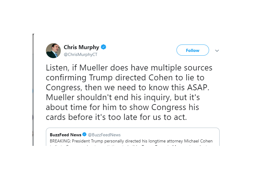 Murphy: Mueller should 'show cards' now on Moscow deal