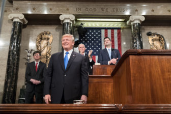 President Trump delivering the State of the Union address last year.