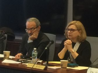 Connecticut Board of Education Chairman Allan Taylor and Education Commissioner Dianna Wentzell at a board of education meeting earlier this year.