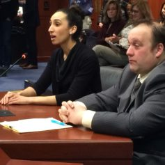 Jessica Tallie speaks about her positive experience at the Women's Center of Eastern Connecticut. Rep. Brian Lanoue R-Griswold accompanies her.