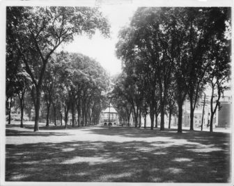 The Waterbury Green looking east in this Republican-American archives photo from 1905. Still standing were the elm trees, which were wiped out in the mid-20th century by Dutch elm disease.