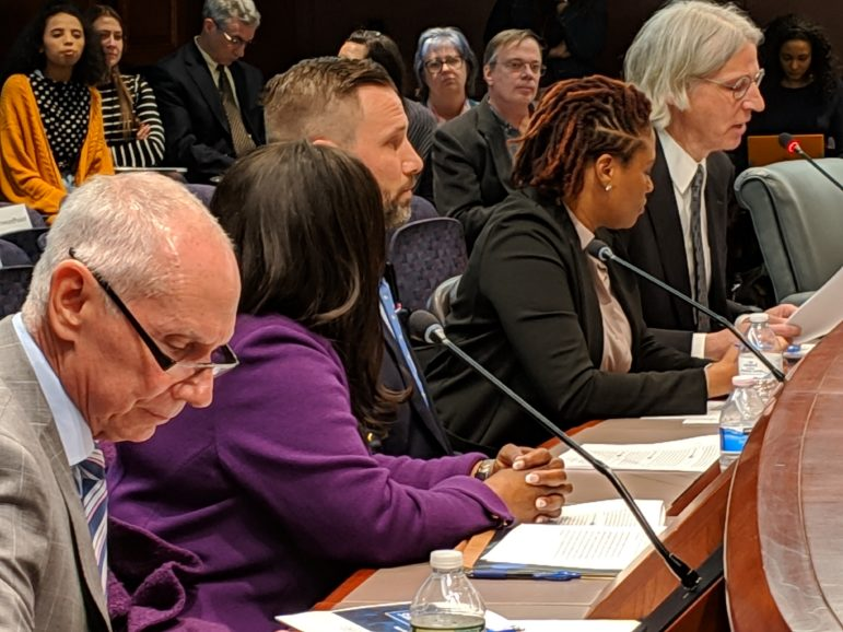 CSCU President Mark Ojakian, far left,and his staff presented told legislators about plans to merge the 12 community colleges into a single state college.To Ojakian's right are Jane Gates, provost, Michael Buccilli of Gateway Community College, Tamika Davis of Tunxis Community College, and Ken Klucznik, transfer and articulation policy manager.