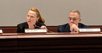 Education Committee Ranking Member Kathleen McCarty voiced concerns about the governor's education bills and voted against them. Ranking Member Sen. Eric Berthel is to her right.