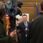 Attorney General William Tong answers questions from the media.