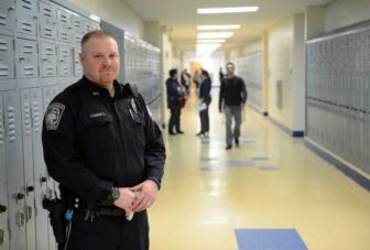 Officer Devin Quintard, one of Brookfield High School's two resource officers. March 26, 2014 file photo.