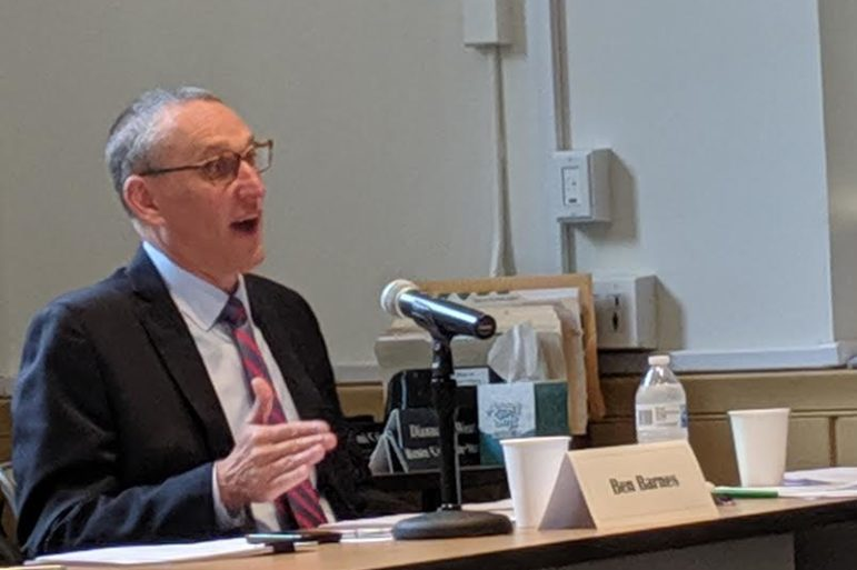 Ben Barnes, chief financial officer for the CSCU system, presented the budget for Fiscal Year 2020 at Thursday's meeting of the Board of Regents' finance committee.