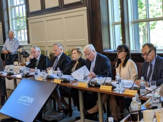 UConn trustees voted on budget Wednesday. UConn President Susan Herbst is third from left. From left trustees are Denis Nayden, Andy Bessette, Tom Ritter, interim chairman, Andrea Dennis-LaVigne and Sanford Cloud Jr.