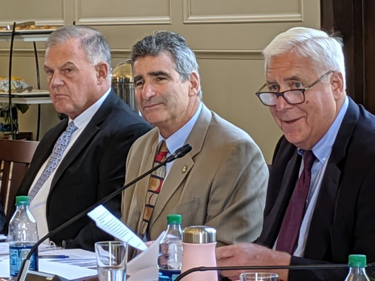 UConn President Tom Katsouleas, center, attended his first UConn board meeting Wednesday. At left is trustee member Andy Bessette and at right interim chairman, Tom Ritter.