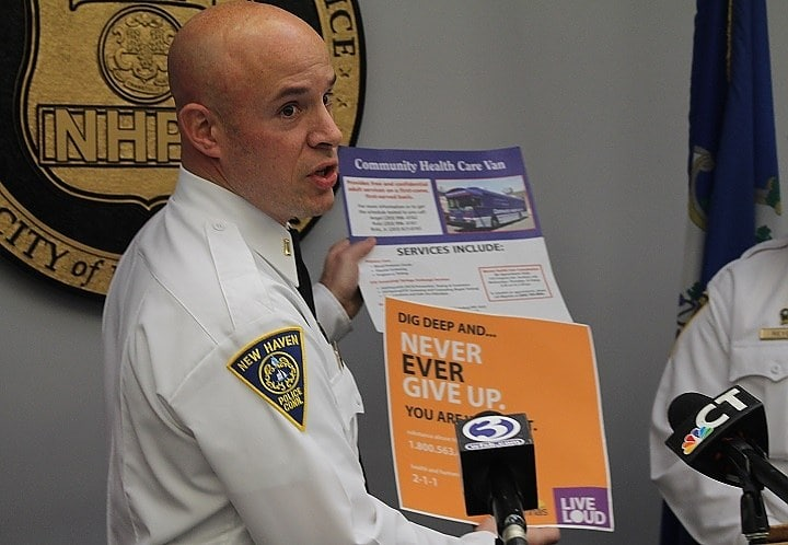 New Haven police offer addicts clean needles, harm reduction kits