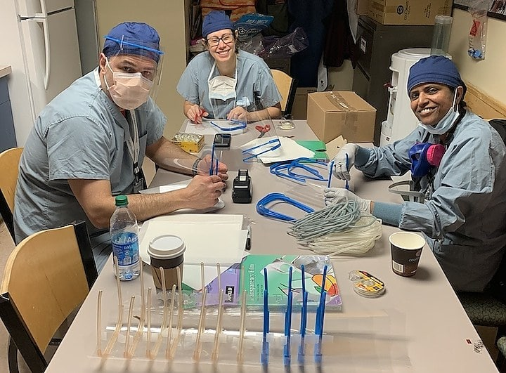 Yale doctor crafts face shields for coworkers