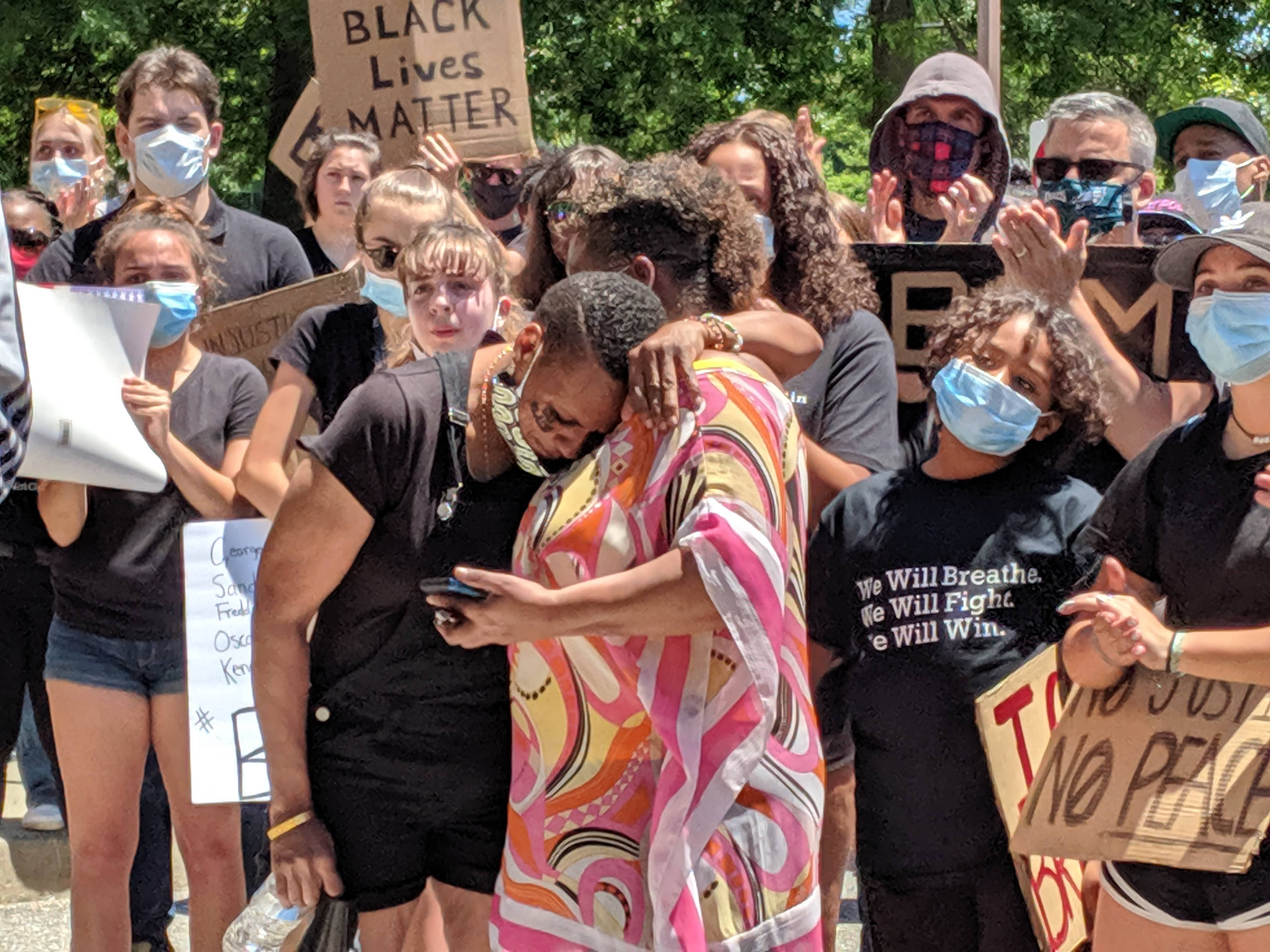Black protesters recount growing up in a mostly white town