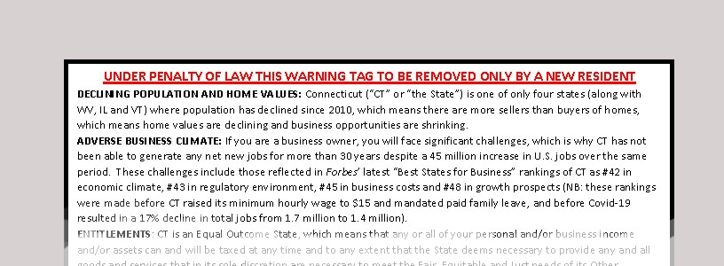New Connecticut residents: Read the warning label