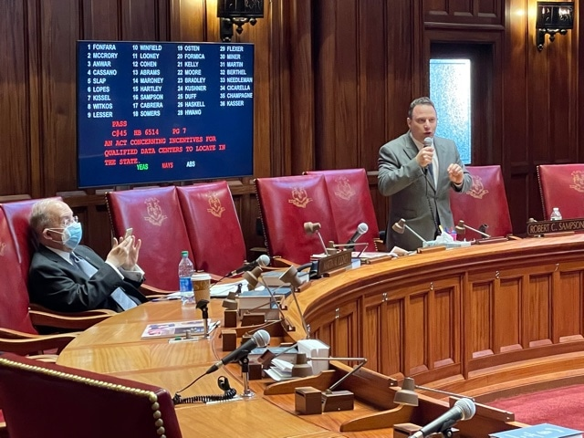 Senate sends data center incentives and town aid pledge bills to Lamont's desk