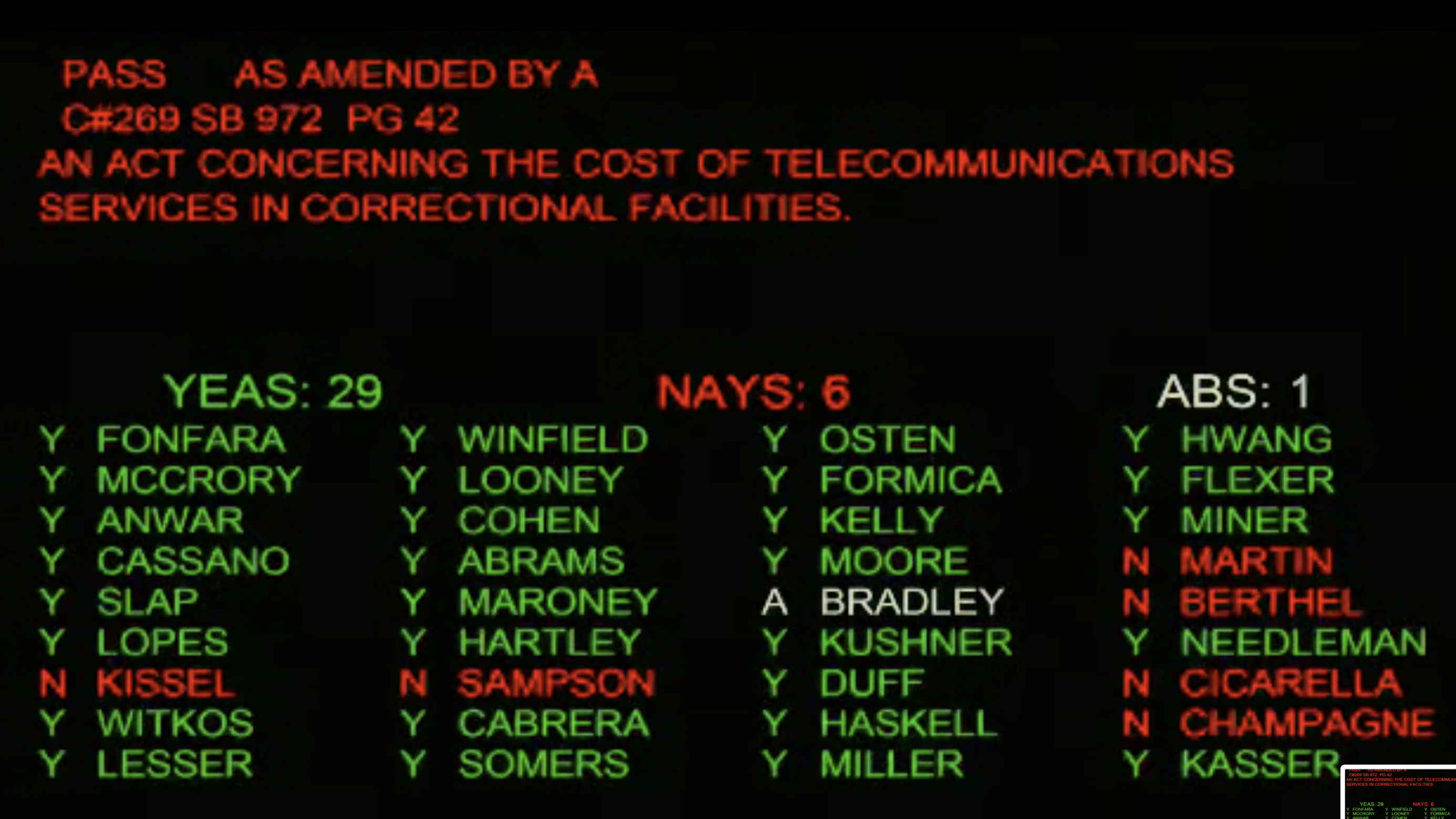Senate OKs free phone calls from prisons